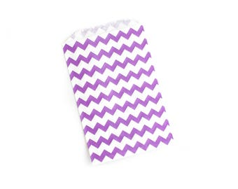 Purple Chevron Favor Bags // Chevron Treat Bags // Large Paper Bags (Set of 25)