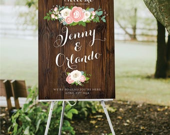 DARK WALNUT Wood Sign Large Wedding Welcome Peony Dusty Miller Rose Garland Ranunculus White Calligraphy Printed Paper • Foam Board • Canvas