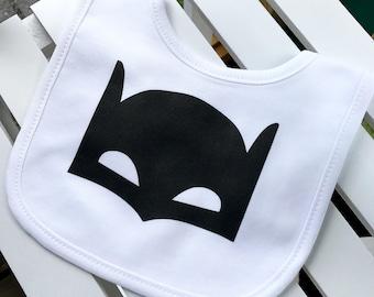 Bat Mask Baby Bib, Baby Batman Bib, Bat Man Baby Bib, Superhero Baby Bib, Baby Superhero, Funny Baby Bib, Unique Baby Gift, Baby Shower Idea
