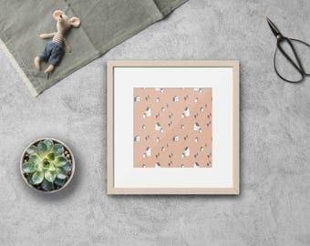 TINY VILLAGE - instant download - printable, digital file, square, illustration, JPG