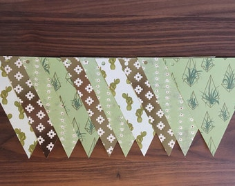 Cactus green paper Garland gold