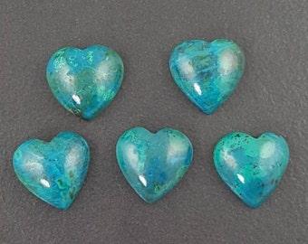 Chrysocolla Heart Cabochon, 15x15mm, calibrated, turquiose cab, chrysocolla, chrysocolla cab, chrysocolla cabochon, blue stone,small heart