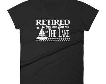 Retired 2018 You Can Find Me at The Lake - Distressed Women's short sleeve t-shirt