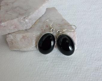 Black Onyx Earrings/Serling Silver Onyx Earrings/Genuine Black Onyx/Sterling Silver Onyx Dangle Earrings/Black Onyx Drop Earrings/E0172
