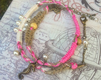 Pink Anklet, Seahorse Anklet, Double Wrap Anklet, Beaded Anklet, Ocean Theme Anklet, Foot Jewelry, Braided Anklet - 00307