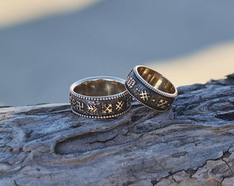 wedding band set unique wedding rings his and hers wedding bands baltic ancient sign - Pagan Wedding Rings