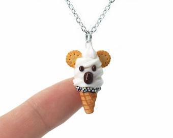 Handmade White Koala Ice Cream Waffle Cone Pendant (CHAIN Is NOT INCLUDED), Koala Ice Cream Pendant