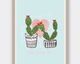 Watercolour Cactus Print/Wall Art, Cacti Art, Succulent, Instant Download, Printable Poster, DIY, High Quality PDF