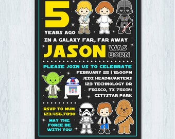 Star Wars Invitation, Star Wars Birthday Invitation, Star Wars Invite, Star Wars birthday invite, the Force Awakens Invitation, Jedi Party