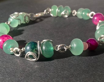 "Enchanting Bracelet of Aventurine and Agate - ""Forest Sprite"""