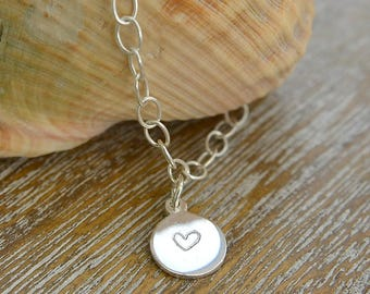 Heart Bracelet Silver, Hand Stamped Bracelet, Dainty Bracelet Sterling Silver, Hand Stamped Heart Bracelet,  Gifts For Her, Gift For Mum