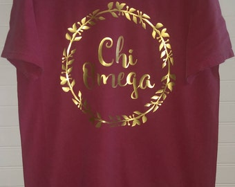 Chi Omega 102 Wreath Comfort Color TShirt, Short Sleeve or Long Sleeve with Glossy Gold Letters