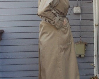 Vintage 3/4 Length Cinched Waist Trench Rare Tan Coat 1970's Size 8 Unisex Womens Mens Shoulder pads with Removable Lining