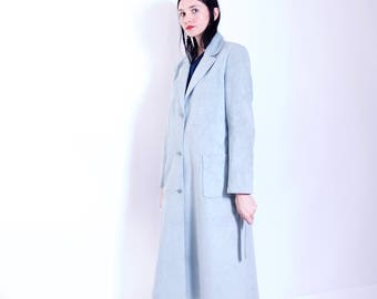 AMAZING vintage seafoam microsuede front wrap trench coat 90s clothing hipster minimalist