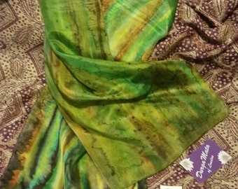 Luxurious Handpainted silk scarf, wearableart, green, bronze, brown, gold, woman's scarf, shawl, wrap, sarong