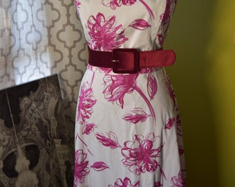 Blooming Beauty/ Summer Dress in Magenta Pink Floral Print with Spaghetti Straps/ A-line Pin Up Knee Length Vintage Dress by Jessica Howard