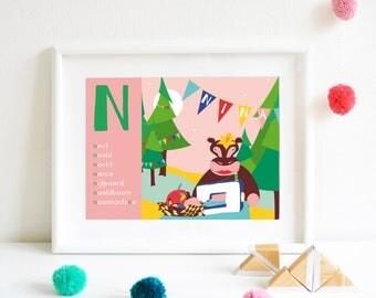 N-Personalized ABC poster, Nameposter, Birthposter, Babyposter, Gepersonaliseerde Geboorteposter, Alfabetposter, Babyposter in Dutch