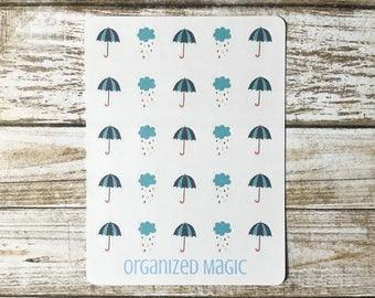 Umbrella and rain cloud planner stickers, umbrella planner stickers, rain cloud planner stickers, weather planner stickers, rain stickers