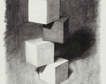 Stacked Blocks Study in graphite