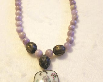 The Lavender marble beaded necklace
