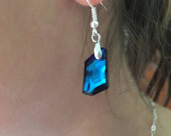 Earrings with Swarovski® Crystals, Bermuda Blue De-art, Sterling Silver, Stunning Sparkle, Bridal/Prom Dress, Christmas/New Year's Eve Bling