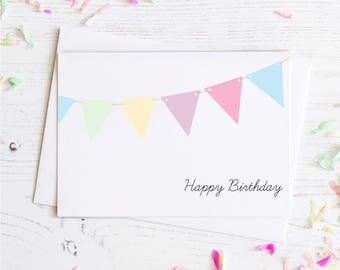 Birthday Banner Card | Birthday Card - Multi Color - Happy Birthday - Simple - Greeting Card
