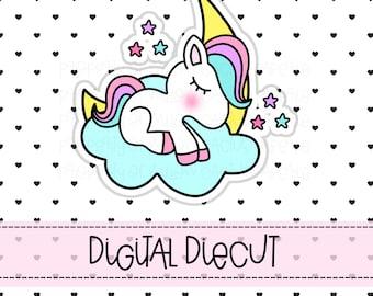 Unicorn Planner Diecut   Planner Diecut   Unicorn Cloud Diecut   Hand Drawn Diecut  