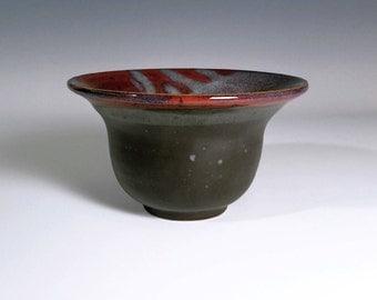 Decorative Bowl / Black Bowl / Tall Bowl / Red Ceramic Bowl / Handmade Bowl / Stoneware Bowl / Wheel Thrown Bowl