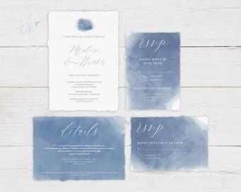 Watercolor Wedding Invitation Template DIY PDF