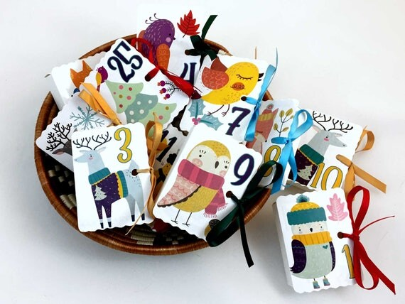 Woodland Folk Art Advent Calendar Boxes | Cute Winter Animal Boxes