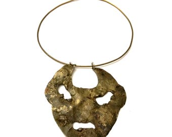 Brutalist Face Necklace, Vintage Artisan Jewelry, Sculptural Handmade Jewelry, Tribal Face Bronze Necklace, Cast Metal Sculpture Necklace