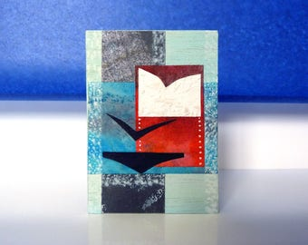 Stylish Mini wood art, original collage art ACEO, Collectible Art Card Gift