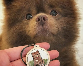 Pet Portrait Embroidery Mini Hoop - 4cm Decoration - Customised for your animal