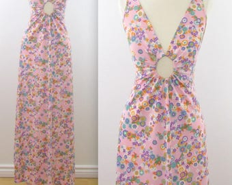 Keyhole Cutout Maxi Nightgown - Vintage 1970s Sexy Floral Lingerie in Medium by Kaymar