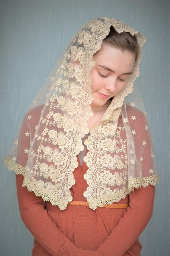 Gold Lace Mantilla | Catholic Chapel Veil Mantilla Catholic Mantilla Gold Chapel Veil Catholic Veil Mass Veil for Mass Robin Nest Lane