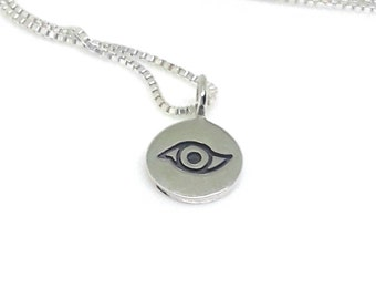 Evil Eye Necklace Sterling Silver Evil Eye Charm Tiny Medal on a Sterling Silver Box Chain All Seeing Eye Necklace
