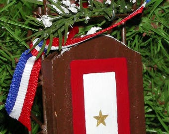 Gold Star Mothers Ornament with Cardinal and sled - Free Shipping