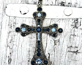 Blue Crystal Cross Pendant, Religious PeNdant, Christian PeNDant, Destash