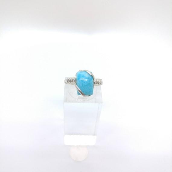 Rare Blue Stone Ring | Ocean Blue Larimar Ring | Sterling Silver Ring Sz 7.25 | Blue Gemstone Ring | Dominican Republic
