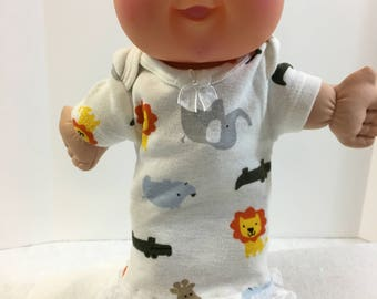 "Cabbage Patch 11 inch PREEMIE Doll Clothes, Cute Nightgown-""Zoo ANIMALS"" Lion, Giraffe, Elephant, Hippo, Cabbage Patch Preemie, Zoo Animals!"