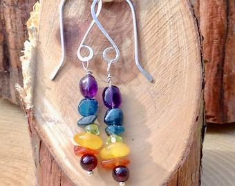 Sterling Silver Rainbow Gemstone Art Earrings