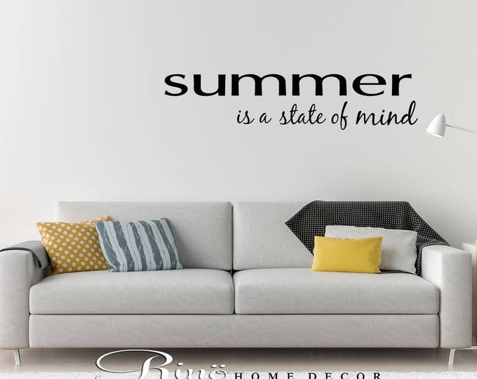 Summer is a state of mind wall art decal wall quote vinyl lettering sticker home decor wall saying