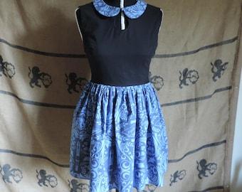 "Dress ""Clara"", Doctor Who print, blue and black"