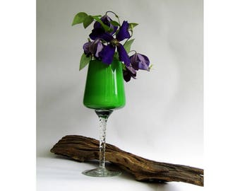 Apple green handblown glass vase, goblet or candle holder with milk glass inside and a twisted clear stem - Italian Empoli studio art glass