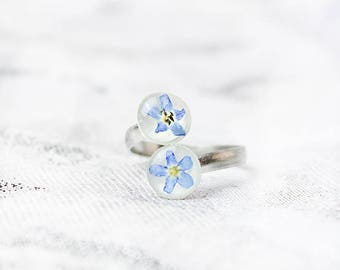sky blue ring double ring band flower jewelry/for/mom gifts nature ring statement ring floral ring gift wife cute ring spiral ring gift ъ7