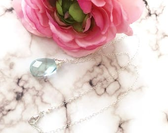 Sterling Silver Wire Wrapped Aquamarine Glass Teardrop Necklace