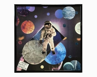 Original Vinyl Record Cover Intergalactic Collage And Into Space Mixed Media Artwork Framed Home Decor Vintage Music Upcycled Materials