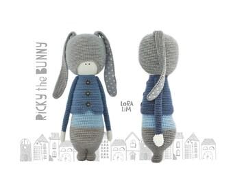 Ricky the Bunny crochet pattern amigurumi pattern rabbit toy crochet simple pattern PDF Instant download