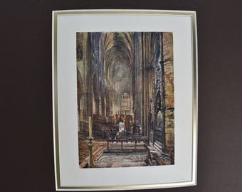 "Picture Double Matted Reproduction of the Watercolor Painting ""Westminster Abbey"" by John Fulleylove London c. 1904 Vintage"
