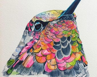 Watercolor hummingbird print, Watercolor bird, Bird Art, Bird wall art, Hummingbird wall art, Watercolor art